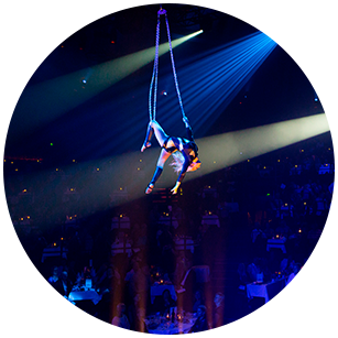 Female acrobat hanging in the air in a beautiful costume