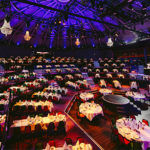 The big Circus Hall ready for conference with dinner